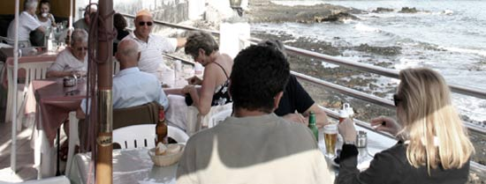 Terrace of El Amanecer restaurant, Arrieta, Lanzarote, specializing in fresh fish