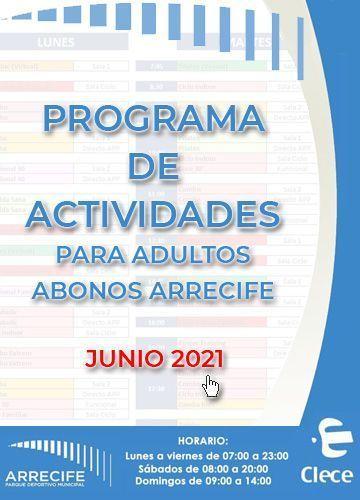 Programa de actividades de mayo 2021 del Parque deportivo municipal arrecife